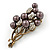Faux Pearl Floral Brooch (Antique Gold & Brown) - view 2