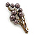 Faux Pearl Floral Brooch (Antique Gold & Brown) - view 3