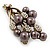 Faux Pearl Floral Brooch (Antique Gold & Brown) - view 4
