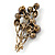Faux Pearl Floral Brooch (Antique Gold & Brown) - view 5