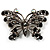 'Night Beauty' Jet Black Crystal Butterfly Brooch (Black Tone)