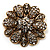 Vintage Swarovski Crystal Floral Brooch (Antique Gold) - view 2