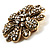 Vintage Swarovski Crystal Floral Brooch (Antique Gold) - view 8