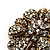 Vintage Swarovski Crystal Floral Brooch (Antique Gold) - view 9