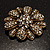 Vintage Swarovski Crystal Floral Brooch (Antique Gold) - view 3