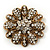 Vintage Swarovski Crystal Floral Brooch (Antique Gold) - view 7