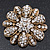 Vintage Swarovski Crystal Floral Brooch (Antique Gold) - view 1