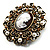 Imitation Pearl Filigree Cameo Brooch (Bronze Tone) - view 2