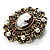 Imitation Pearl Filigree Cameo Brooch (Bronze Tone) - view 4