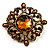 Vintage Filigree Crystal Brooch (Antique Gold&amp;Amber Coloured)