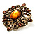 Vintage Filigree Crystal Brooch (Antique Gold&amp;Amber Coloured) - view 2