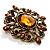 Vintage Filigree Crystal Brooch (Antique Gold&amp;Amber Coloured) - view 3