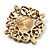 Vintage Filigree Crystal Brooch (Antique Gold&amp;Amber Coloured) - view 5