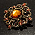 Vintage Filigree Crystal Brooch (Antique Gold&amp;Amber Coloured) - view 6