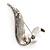 Modern Diamante Faux Pearl Leaf Brooch (Silver Tone) - view 5