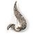 Modern Diamante Faux Pearl Leaf Brooch (Silver Tone)