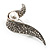 Modern Diamante Faux Pearl Leaf Brooch (Silver Tone) - view 9