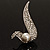 Modern Diamante Faux Pearl Leaf Brooch (Silver Tone) - view 8