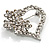 Open Diamante Floral Heart Brooch (Silver Tone) - view 4