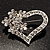 Open Diamante Floral Heart Brooch (Silver Tone) - view 2