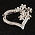 Open Diamante Floral Heart Brooch (Silver Tone) - view 6