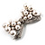 Imitation Pearl Diamante Bow Brooch (Silver Tone) - view 4
