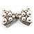 Imitation Pearl Diamante Bow Brooch (Silver Tone) - view 2
