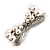 Imitation Pearl Diamante Bow Brooch (Silver Tone) - view 8