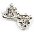 Imitation Pearl Diamante Bow Brooch (Silver Tone) - view 6