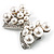 Imitation Pearl Diamante Bow Brooch (Silver Tone) - view 9
