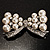Imitation Pearl Diamante Bow Brooch (Silver Tone) - view 1