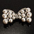 Imitation Pearl Diamante Bow Brooch (Silver Tone) - view 3