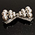 Imitation Pearl Diamante Bow Brooch (Silver Tone) - view 7
