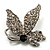 Small Diamante Butterfly Brooch (Silver Tone)