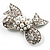 Small Crystal Faux Pearl Bow Brooch - view 3