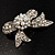 Small Crystal Faux Pearl Bow Brooch - view 9