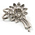 Delicate Faux Pearl Bridal Floral Brooch (Silver Tone) - view 7