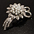 Delicate Faux Pearl Bridal Floral Brooch (Silver Tone) - view 2