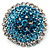 Sky Blue Crystal Corsage Brooch (Silver Tone)