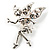 Magical Fairy With Clear Crystal Wings Brooch (Silver Tone) - view 2
