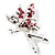Magical Fairy With Pink Crystal Wings Brooch (Silver Tone) - view 7