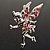 Magical Fairy With Pink Crystal Wings Brooch (Silver Tone) - view 4