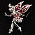 Magical Fairy With Pink Crystal Wings Brooch (Silver Tone)