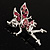 Magical Fairy With Pink Crystal Wings Brooch (Silver Tone) - view 5