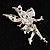 Magical Fairy With Pink Crystal Wings Brooch (Silver Tone) - view 6