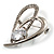 Open CZ Heart Brooch (Silver Tone) - view 4