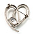 Open CZ Heart Brooch (Silver Tone) - view 6