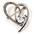 Open CZ Heart Brooch (Silver Tone) - view 8