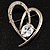 Open CZ Heart Brooch (Silver Tone) - view 2