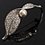 Exquisite Crystal Simulated Pearl Leaf Brooch (Silver Tone) - view 8